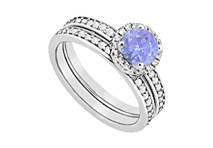 halo tanzanite engagement ring with