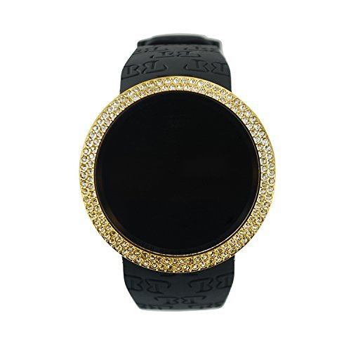 Techno Pave Iced Out Bling Lab Diamond Gold Black Digital Touch Screen Sports Smart Watch