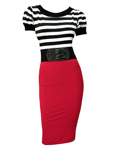 New Black White Red Wiggle Pinup Pencil Dress