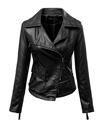 Mooncolour Womens New Design Pure Color Motorcycle Faux Leather Jacket