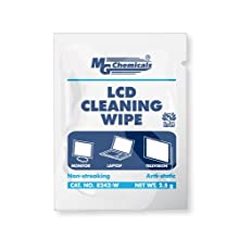 "MG Chemicals 8242-W LCD Cleaning Wipe, 6"" Length x 5"" Width (Box of 25)"