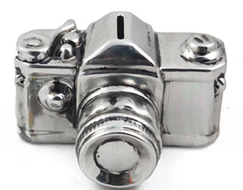 JustNile Ceramic Silver Camera Miniature Coin Bank - 1