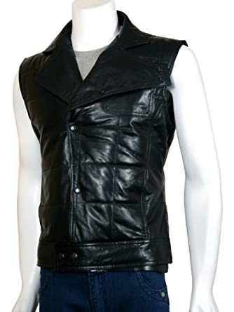 Xport Design's Men's Stand Collar Quilted Black Leather Vest, X-Small