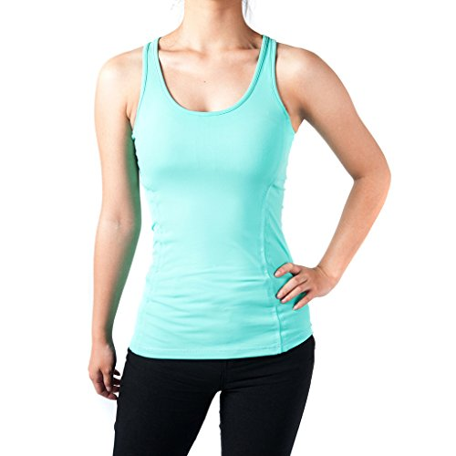 Sportown™ Women's Yoga Fitness Racerback Sleeveless Tank Top Running Shirt Vest (XL, Green)
