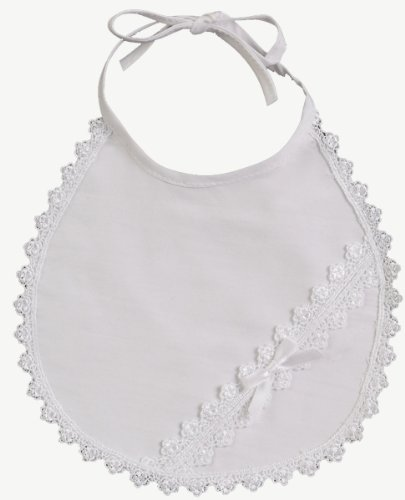 White Cotton Laced Christening Baptism Bib - 1