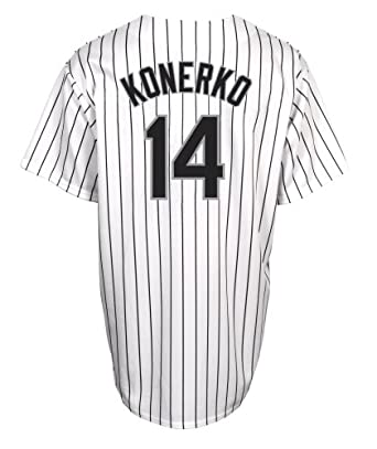 MLB Chicago White Sox Paul Konerko White Black Pinstripe Home Short Sleeve 6 Button... by Majestic
