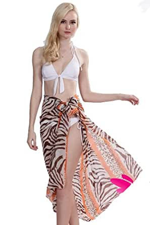Women Tie Swimsuit Cover-up Sarong - 1 Sarong Picked (Orange)