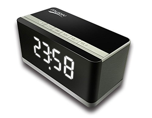 Portable Bluetooth Speaker, w/ 2x5W Acoustic Drivers, Dual Subwoofer, LED Display, Radio, Alarm Clock, Handsfree Speakerphone, Micro SD Card, USB and AUX-In Slots for Smart Phones, Pad, and Tablet