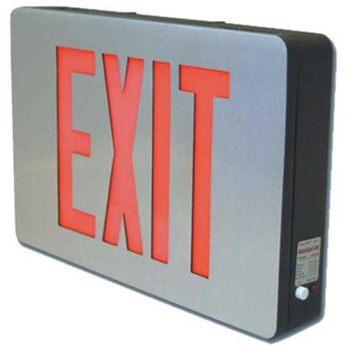Sure-Lites CX72 LED Die Cast Exit Sign, Self-Powered, Brushed Aluminum Face and Black Housing, Double Face, Red and Green Letters