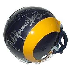 Jack Youngblood Autographed St. Louis Rams (Yellow Throwback) Mini Helmet w  HOF 01 by PalmBeachAutographs.com