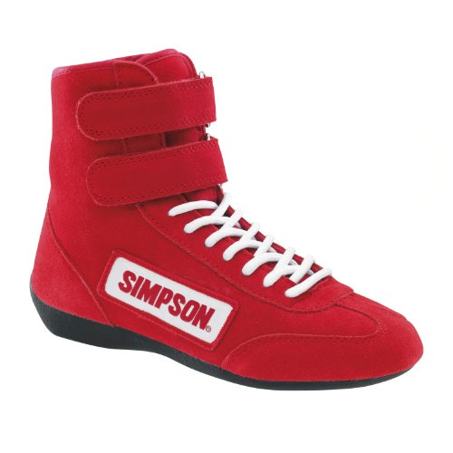 Simpson Racing 28100RD The Hightop Red Size 10 SFI Approved Driving Shoes