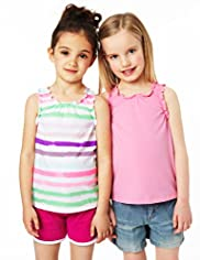 2 Pack Pure Cotton Plain & Striped Vest Tops