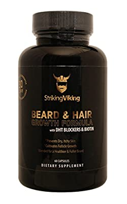 Beard & Hair Growth Formula - 60 Capsules - Formulated with Natural DHT Blockers, Biotin, and Multivitamins