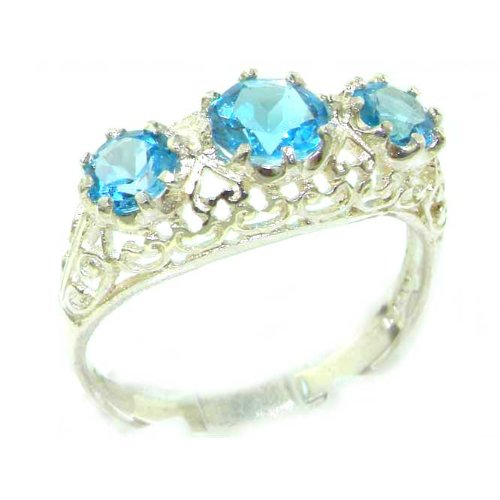 Quality Solid Sterling Silver Genuine Blue Topaz English Filigree Trilogy Ring - Size 12 - Finger Sizes 5 to 12 Available - Suitable as an Anniversary ring, Engagement ring, Eternity ring, or Promise ring