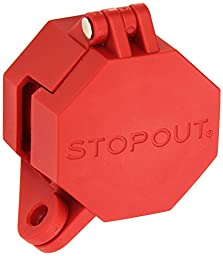Accuform Signs KDD477 STOPOUT Trailer-Lock Glad Hand Lockout, Blocks Access To Air Line Connection, Plastic With Zinc-Coated Steel Hinge Pin, Red