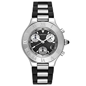 Cartier Men's W10125U2 Must 21 Chronoscaph Stainless Steel and Black Rubber Chronograph Watch from Cartier