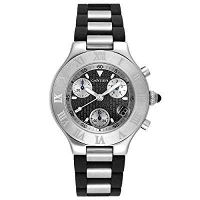 Cartier Men's W10125U2 Must 21 Chronoscaph Stainless Steel and Black Rubber Chronograph Watch