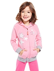 Placement Star Print Zip Through Hooded Top