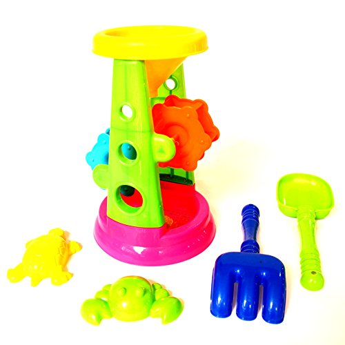 Dazzling Toys Beach/sandbox Tool Playset Includes Double Sand Wheel - 5 Piece Set