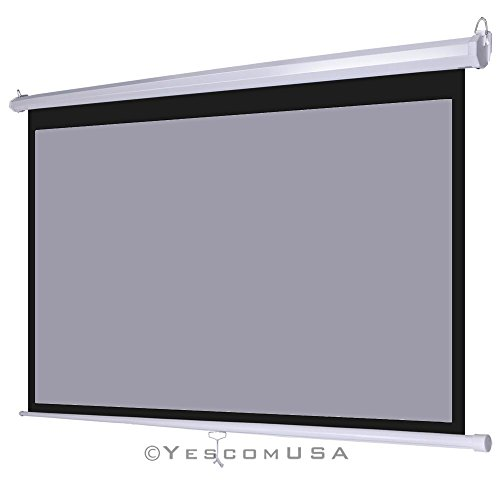 100″ Grey Material Manual Projector Projection Screen Pull-Down 16:9 Home Movie