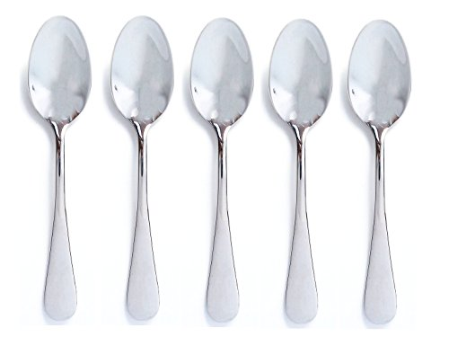 Best Baby Spoons - Set of 5 Baby Spoons - BPA Free - Perfect for Baby Shower Gift Baskets and Sets - The Best Spoons for Feeding New Babies - Highest Quality Mirror Polish Stainless Steel - More Affordable than Silver -Same Keepsake Quality - 100% Lifetime Money Back Guarantee (Traditional)