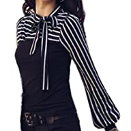 Zeagoo Ladies Tie-bow Neck Striped Lo…