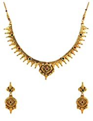 Voylla Traditional Gold Plated Necklace Set Decorated With Shiny CZ And Colored Stones - B00Q9RQHZU