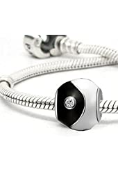 Yin Yang Black/White Enamel Silver Plated Bead with Clear CZ Charm for European Charm Bracelets
