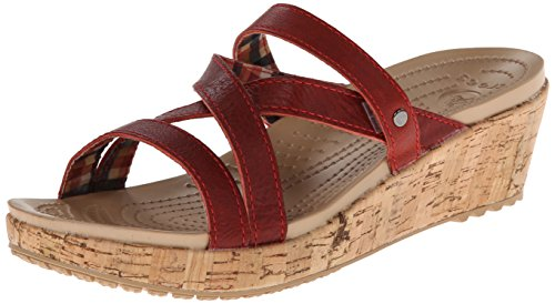 Crocs Women'S 11847 A Leigh Mini Wedge Sandal,Scarlet/Scarlet,8 M Us front-1003222