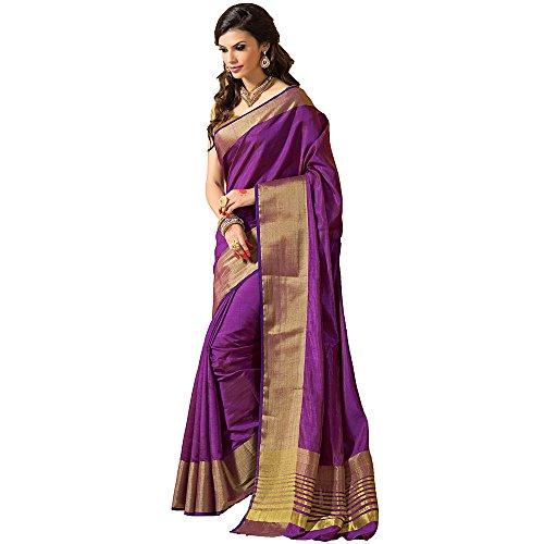 Shree Designer Sarees Women's Honoured Purple Kanchipuram Silk Saree