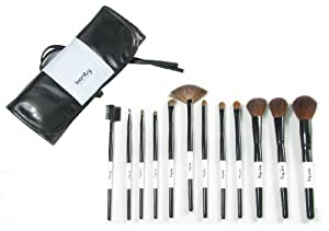 Professional Studio Quality 12 Piece Natural Cosmetic Makeup Brush Brushes Set Kit with Leather Pouch Case Bag