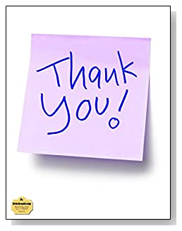 Thank You Notebook - A lavendar sticky note with the words Thank You say it all on the cover of this blank and college ruled notebook with blank pages on the left and lined pages on the right.