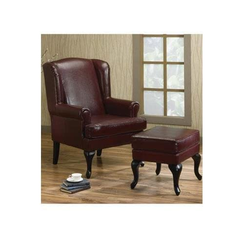 Amazon Com Wing Chair And Ottoman Set Burgundy Armchairs