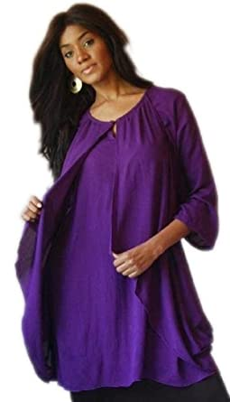 PURPLE DRESS MINI TUNIC TOP DRAPING - FITS (ONE SIZE) - L 1X 2X - B166 LOTUSTRADERS