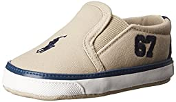 Ralph Lauren Layette Victory Slip On with 87 Logo (Infant/Toddler), Khaki, 3 M US Infant