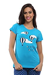 Clovia Cotton Graphic T-Shirt - Blue