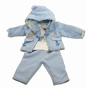 Baby Boys Winter Coat/Jacket with T Shirt Vest and Fleece Trousers (Blue Jacket 3 Piece Set) (9 months)