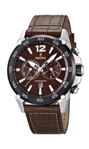 Festina F16673/3 - Reloj cronógrafo de cuarzo para hombre con correa de piel, color marrón