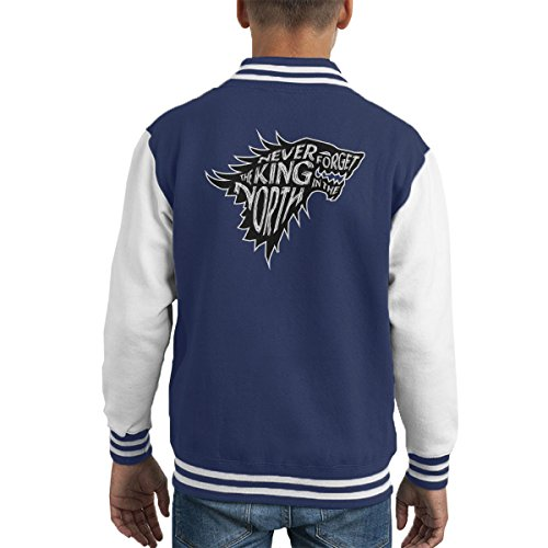 The North Never Forgets The King In The North Game Of Thrones Kid's Varsity Jacket