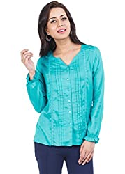 Zovi Rayon Green Top With Pin Tuck Detailing (10880703101_M)
