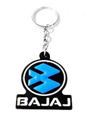 Keychain Bajaj Blue Black Rubber Synthetic Metal Keyring