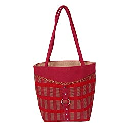 Womaniya Women's Handbag (Red) (Handicraft Jute Bag)