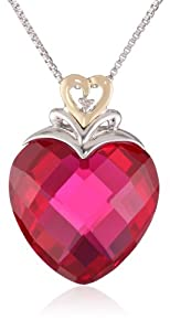 XPY Sterling Silver and 14k Yellow Gold Created Ruby Heart and Diamond-Accent Pendant Necklace, 18""