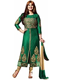 Zombom Green Cotton Pakistani Suits Semi-stitched Dress Material