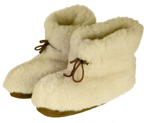Image of Women's Leather & White Wool Slippers - Boot Style Size 10.5 (B009K4IL08)