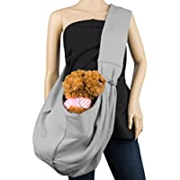 Cue Cue Pet's 100% Plush Cotton Reversible Pet Sling Carrier [Ash Grey] Suitable For Small To Medium Sized Dogs...