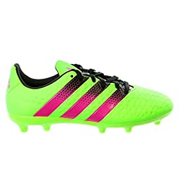 adidas Performance Ace 16.3 FG/AG J Soccer Shoe (Little Kid/Big Kid),Green/Shock Pink/Black,5.5 M US Big Kid