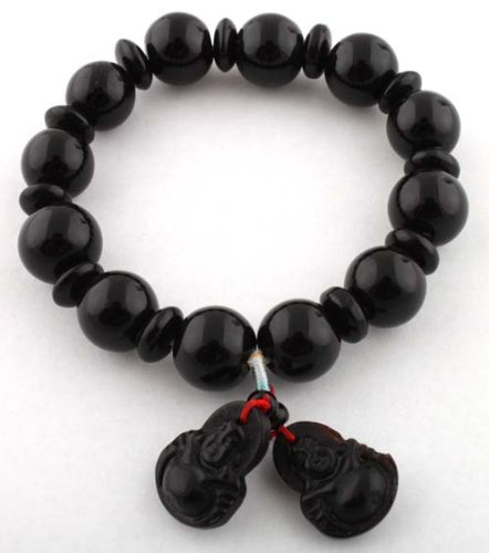 Black Glass Beaded Balls with Buddah Charms Shamballah Style Stretch Bracelet