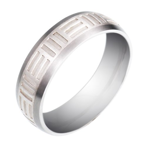 Men's Titanium and Sterling Silver 7mm Wedding Band , Size 10