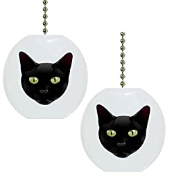 Set of 2 Black Cat Head Solid CERAMIC Fan Pulls